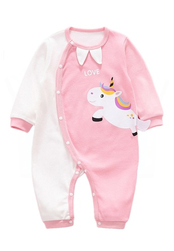 Kiddies Crew white and pink and multi Unicorn Colour Block Pop Up Tail Girls Baby Kids Long Sleeve Romper Onesie Overalls Bodysuit BA31FKA4BBF479GS_1
