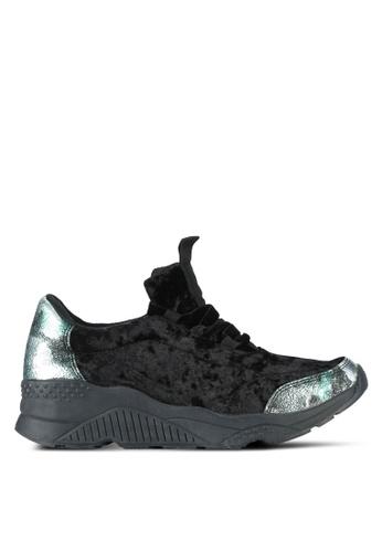 Something Borrowed black Velvet Textured Sneakers FA980SHB84A33EGS_1
