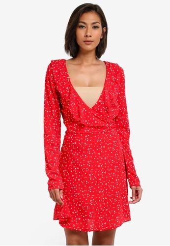 MISSGUIDED multi Red Star Ruffle Detail Tea Dress MI511AA0S2WSMY_1
