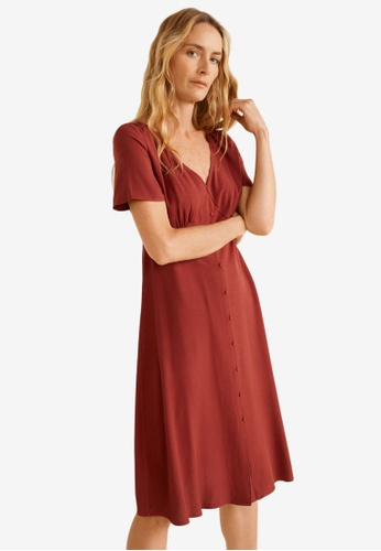 Mango red Ruched Detail Dress 66743AA1DF3B22GS_1