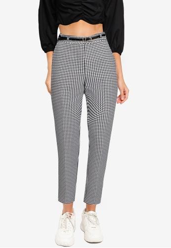 Miss Selfridge black Black Dogtooth Belt Tapered Trousers 9F93AAA7C44DE2GS_1