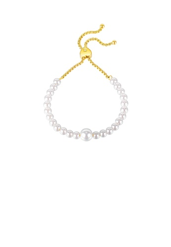 Glamorousky white Fashion and Elegant Plated Gold Imitation Pearl Heart-shaped Adjustable 316L Stainless Steel Bracelet A43A7ACA74613FGS_1