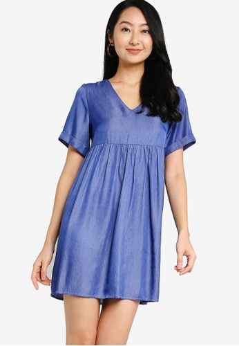 ZALORA BASICS blue Chambray V Neck Mini Dress 5FF21AABA2C2F7GS_1