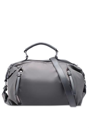 NUVEAU grey PU-Trimmed Nylon Convertible Boston Bag 210BDACA8FC18FGS_1