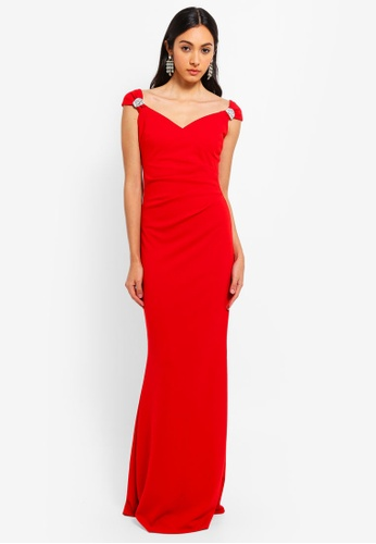 Goddiva red Shoulder Detailed Maxi Dress 3A030AAA5E82F4GS_1