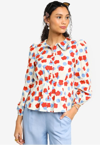 Lubna white and red Cotton Puff Sleeve Shirt 4D9F3AA22D4E8FGS_1