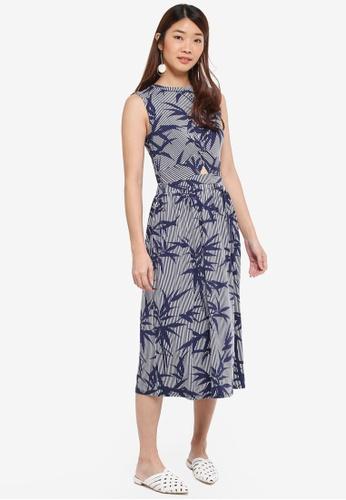 WAREHOUSE blue Stripe Bamboo Midi Dress E6A98AA20E6794GS_1