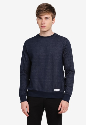 Penshoppe blue and navy Relaxed Fit Pullover PE124AA0SN0YMY_1