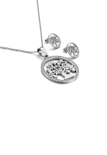 Glamorousky white Fashion Simple Geometric Round Tree Of Life 316L Stainless Steel Necklace and Stud Earrings Set with Cubic Zirconia C23D4AC929C26DGS_1