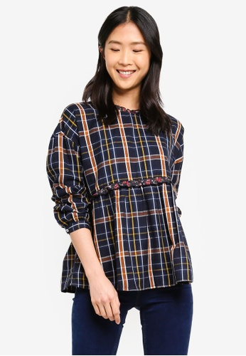 ESPRIT black Checkered Blouse With Frills 77DBAAA6B18542GS_1