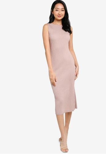 ZALORA BASICS pink Boat Neck Knit Dress 7246CAA6709227GS_1
