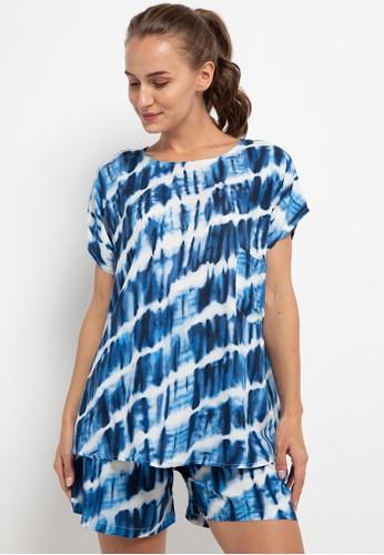 Nade blue Nade Japan FT055 AMS Baju Tidur Tie Dye Slanted Wanita Set Baju Celana Tidur Biru 8682BAA37792B4GS_1