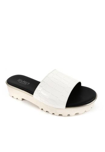 Joy & Peace white Textured Sandals JO458SH78YGVHK_1