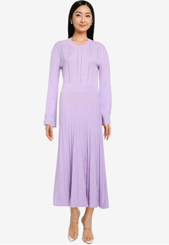 JEANASIS purple Pleated Knit Dress 0C8D8AA08E469DGS_1