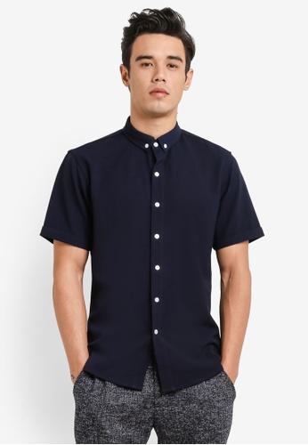 ZALORA navy Button Down Seersucker Short Sleeve Shirt 3BEADAA263AD89GS_1