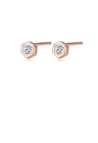 Glamorousky white 925 Sterling Silver Plated Rose Gold Simple Geometric Cubic Zirconia Stud Earrings 7330EAC4CC49F5GS_1