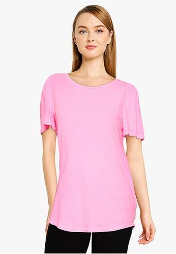 Gap pink Short Sleeves  Auth Flutter Sleeves Tee EA69CAAFE17D73GS_1