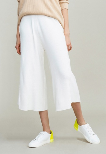 KLAPS white Knitted Palazzo Trousers 80BC4AAC67CD54GS_1