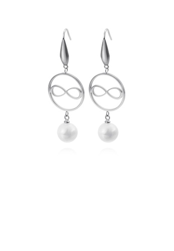 Glamorousky white Simple and Fashion Round Infinity Symbol 316L Stainless Steel Earrings with Imitation Pearls 46586ACA5A3C6EGS_1
