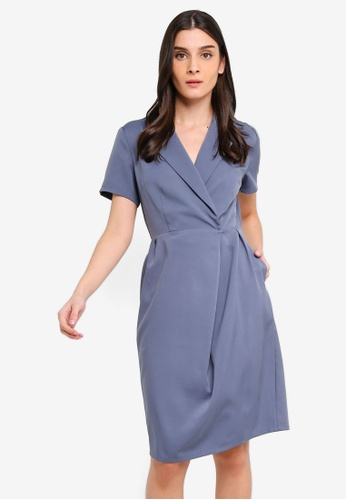 ZALORA 灰色 and 藍色 Lapel Collar Dress 0345AAA9F4559FGS_1