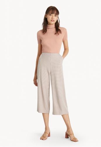 Pomelo orange Crop Culotte Checkered Pants - Orange 18CBEAA38C23F5GS_1