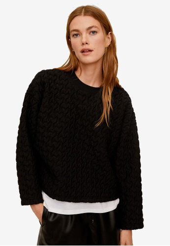 Mango black Textured Sweatshirt DE9BEAACD50412GS_1
