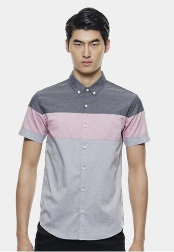 Private Stitch grey Border Colour Block Design Oxford Shirts PR777AA72QPBMY_1