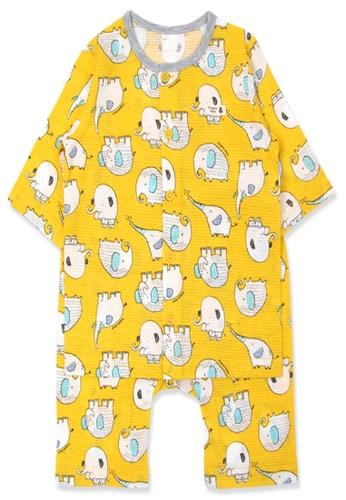 Organic mom yellow Organic Cotton Felix Elephant3/4 Sleeves Pjs 82388KA29FED43GS_1