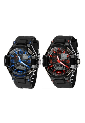 Greatnes Trading Corp red and blue Men's Multifunctional  Digital Rubber Watch Set GR861AC58RYVPH_1