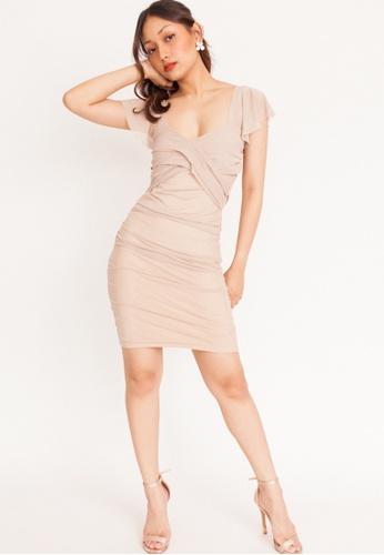 Hook Clothing beige Flutter Sleeve Padded Mini Dress A1C48AA730FBF6GS_1
