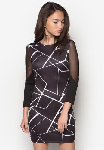 網紗拼袖印花連身裙, 服飾zalora退貨, 服飾