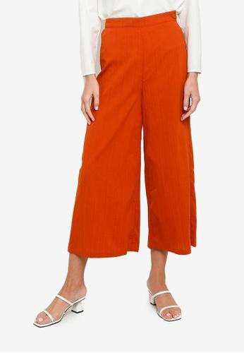 ZALIA BASICS orange Textured Culottes Pants C2013AA650351BGS_1
