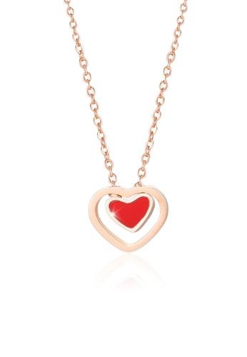 CELOVIS red and gold CELOVIS Premium - Heartthrob Reversible Heart Pendant 0.05ct Diamond Necklace 5BE3AAC6EDD64DGS_1