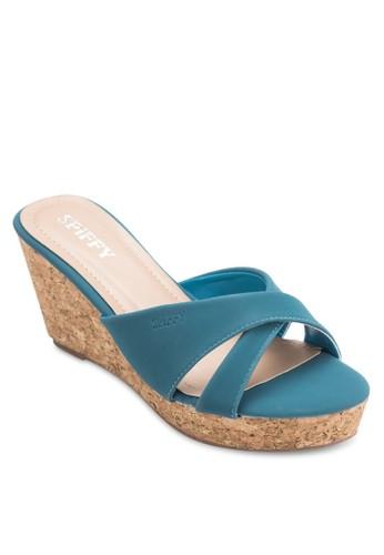 交叉帶木esprit 台中製楔形涼鞋, 女鞋, 楔形涼鞋
