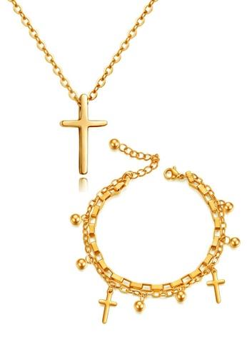 CELOVIS gold CELOVIS - Krissy Necklace paired with Genesis Bracelet Cross Jewellery Set in Gold 9167EAC692D193GS_1