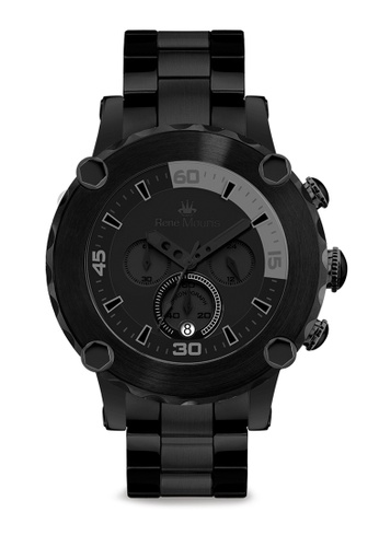 René Mouris multi Santa Maria Collection - 49mm Vulgar Chic Style Quartz Chronograph Watch for Men's - Black Color Stainless Steel Band - Made in France 91A15AC23FD029GS_1