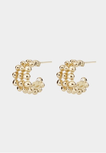Pomelo gold Stacked Bead Open Hoop Earrings - Gold FDCA9ACC2488BCGS_1