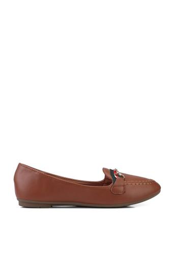 NOVENI brown Stripe Loafers 422BCSHE70C723GS_1