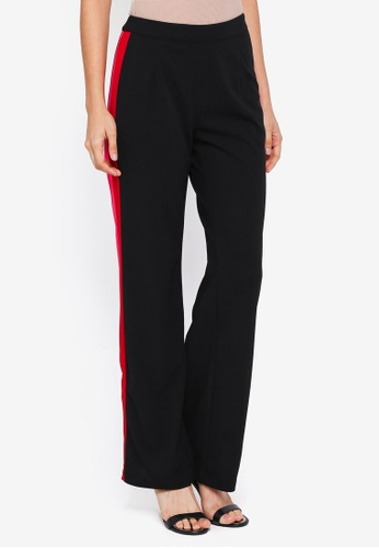 Lubna black and red and pink Zipper Straight Cut Pants 4732AAA66A0534GS_1