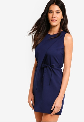 ZALORA navy Double Layer Dress With Waist Tie A5A61AA194134BGS_1