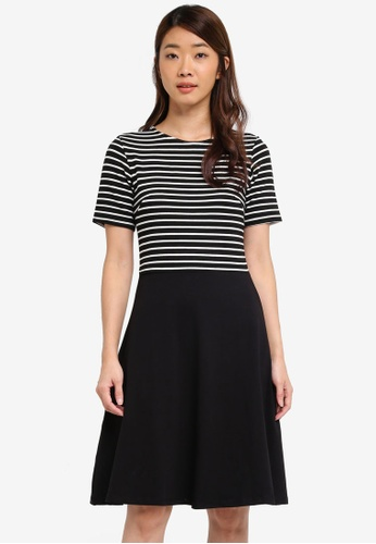 Dorothy Perkins black Stripe Fit And Flare Dress 4C73CAA4E1E660GS_1