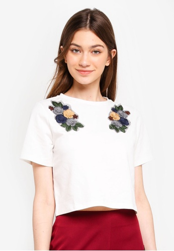 Something Borrowed white Knit Boxy Tee With Floral Patches ED84AAA3268A1AGS_1