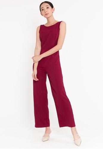 BEBEBEIGE red BebeBeige Sleeveless Silk Wide-Leg Jumpsuits C862BAADC0AC4CGS_1