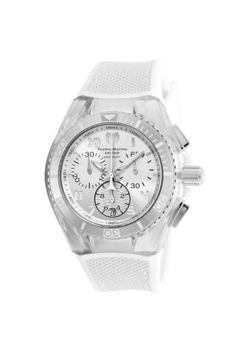 TECHNOMARINE white Technomarine Cruise Unisex 40.57mm Case White Silicone, Canvas Strap White, Antique Silver Dial Quartz Watch TM-115017 TE359AC0F5BGSG_1