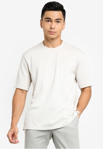 ck Calvin Klein grey COTTON PIQUE TOP WITH JACQUARD LOGO TAPE 2EEC6AA6021EB4GS_1