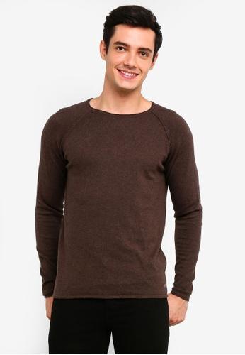 !Solid 褐色 Stamos Mix 絲綢Raglan 針織Sweater 8B3C0AA54A9792GS_1