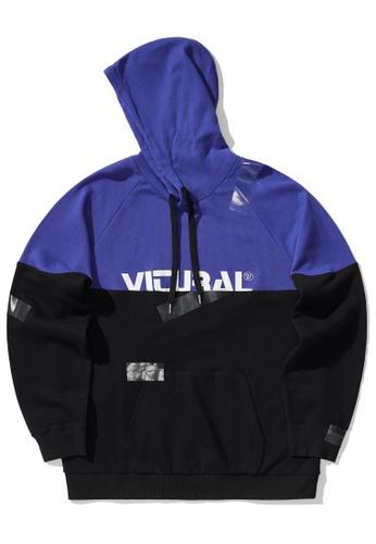 Fivecm purple Colour block hoodie 9822EAADB5326BGS_1