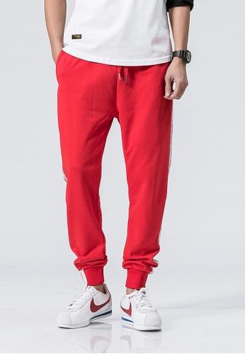 hk-ehunter red Casual Regular Fit Jogger Pants 4C2D4AA0196803GS_1