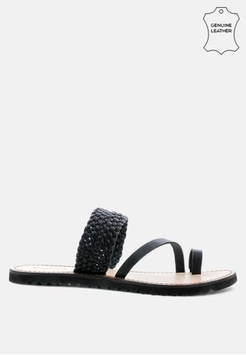 RAG & CO black Braided Leather Flat Sandal 0A3FDSHC4F55EAGS_1