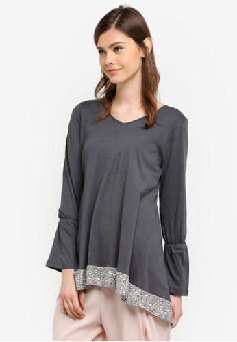 Aqeela Muslimah Wear grey Fishtail Paneled Top AQ371AA0S4VHMY_1